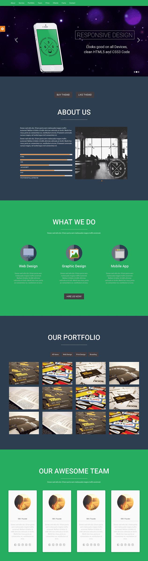 响应式视差滚动网页单页模板