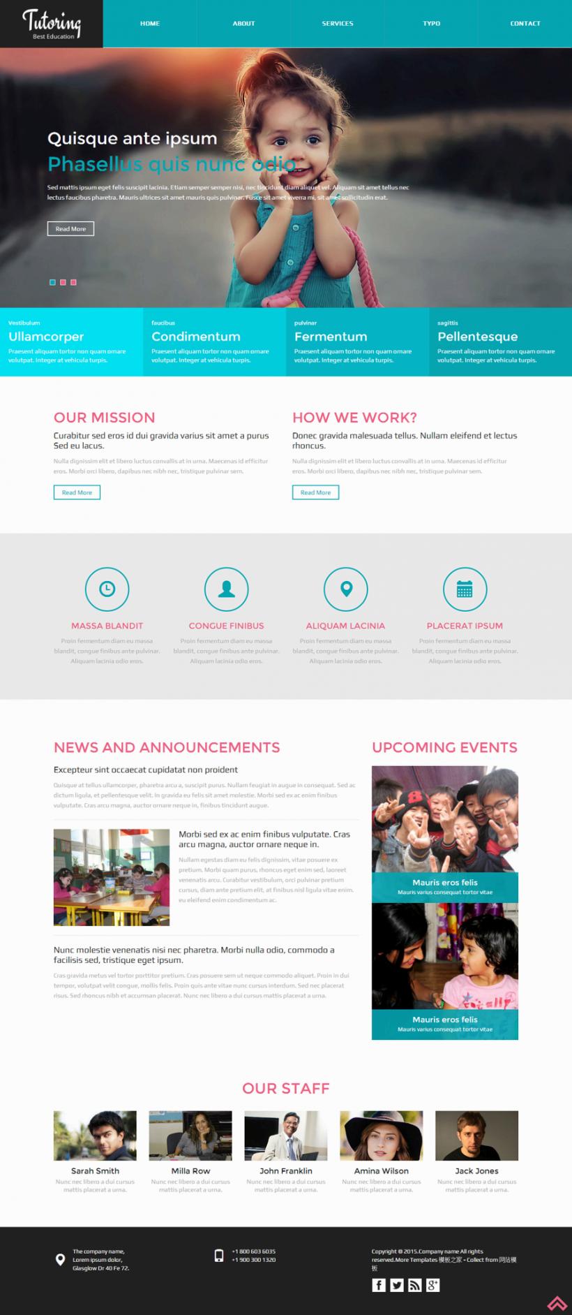 蓝色宽屏的小学生教育机构网站